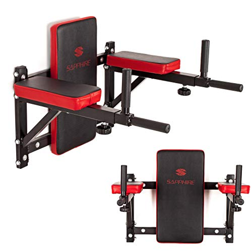 Xylo Sapphire Dip Station Klimmzugstange Bauchtrainer Wandmontage Wand Dipstation Bauchmuskeltrainer Pull Up Bar Brusttraining Training Station Dip Barren Sport Station XG-180