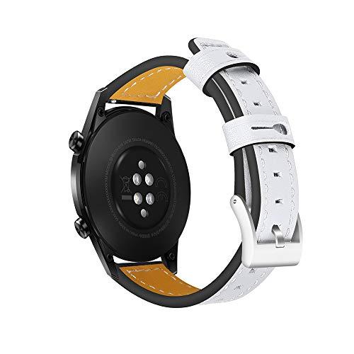 Fesjoy - Correa de reloj de pulsera de 22 mm, de piel, compatible con Huawei Watch GT 2 46 mm/Honor MagicWatch 2 46 mm