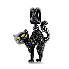 😺【Inspiration】: This is one of the black cats dangling, making a unique style of naughty cat. Tail up, the enameled cat crafted in 925 sterling silver is watching you with her special pose. Eyes in yellow like the stars in the dark mysterious space. ...