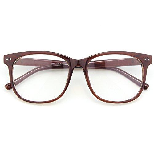 CGID CN81 Damen Herren Styler klassische Nerdbrille Streberbrille Pantobrille 80er Jahre Klarglas Fashion Oversized Nerd Geek Style, Braun, 55