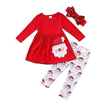 Toddler Baby Girl Christmas Outfits Set Long Sleeve Ruffle Top + Santa Pants + Bowknot Headband 3 Pieces Xmas Clothes  Red 6-7 Years
