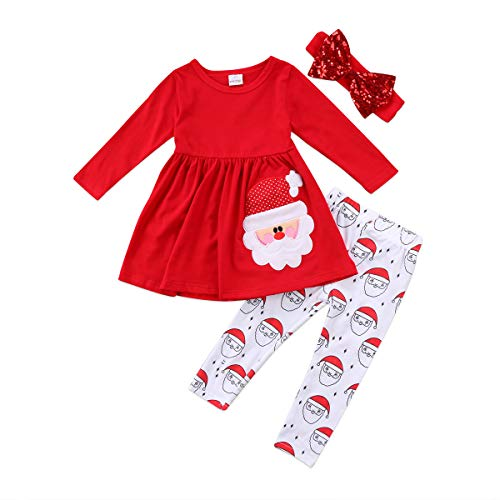 Toddler Kids Baby Girl Christmas Outfits Long Sleeve Santa Claus Print Top Dress Pants Xmas Clothes Set 12M-7Y (Red, 2T / 3T)