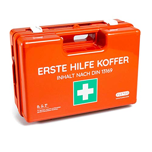 Erste-Hilfe-Koffer für Betriebe DIN 13169 in orange, Verbandkasten gefüllt und mit Wandhalterung