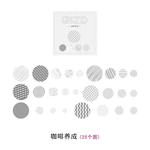 Bureau 25 stks/pak Twaalf snoepjes Zout Rond Papier Sticker Decoratie Dagboek Scrapbooking Label Sticker Kawaii Japanse Stationaries