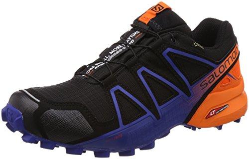 SALOMON Men's Speedcross 4 GTX Ltd Trail Running Shoes, Black Black Scarlet Ibis Surf The Web, 9.5 UK