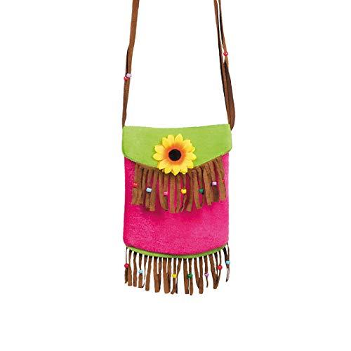 Amakando Elegante Flower Power Schultertasche mit Fransen / 22x17cm / Sommer Handtasche Blumenkind für Frauen / EIN Blickfang zu Fasching & Kostümfest