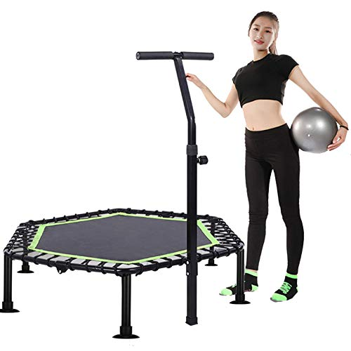 Trampolines HUO - Foldable Fitness, Bouncer Rebounder with Detachable Handle Bar for Adults Or Kids - Hexagonal(Size:48in)