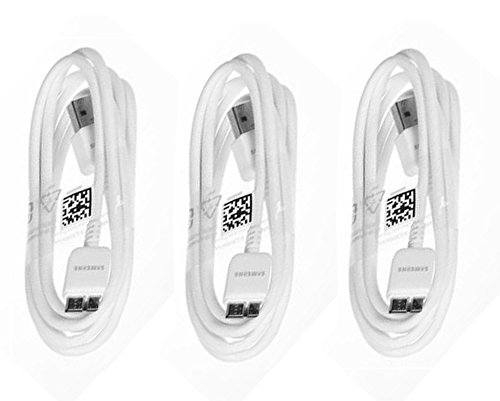 Samsung USB 3.0 Sync Data Cable for Galaxy S5 SV & Note 3, 3 Pack - Non-Retail Packaging - White