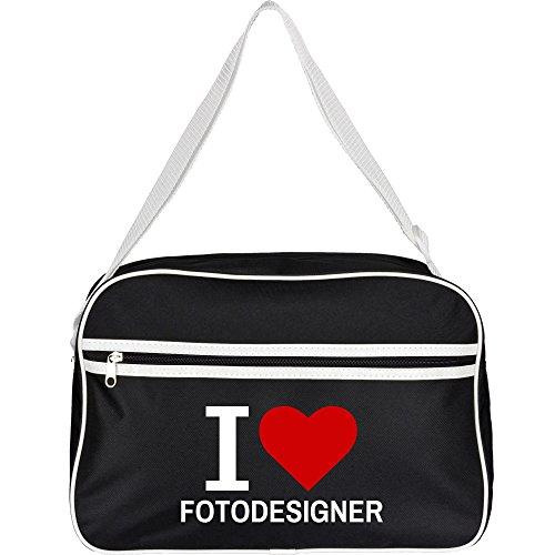 Multifanshop® Retrotasche Classic I Love Fotodesigner schwarz Schultertasche Umhängetasche Tasche