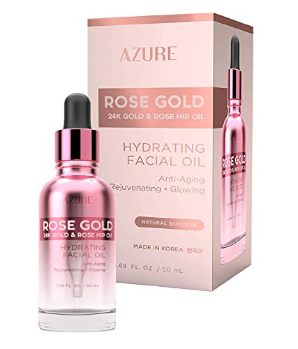 AZURE Rose Gold Hydrating Facial Oil - Anti Aging, Lifting & Firming   Reduces Appearance Of Wrinkles & Fine Lines   Calms & Revitalizes Skin   Made in Korea - 50mL