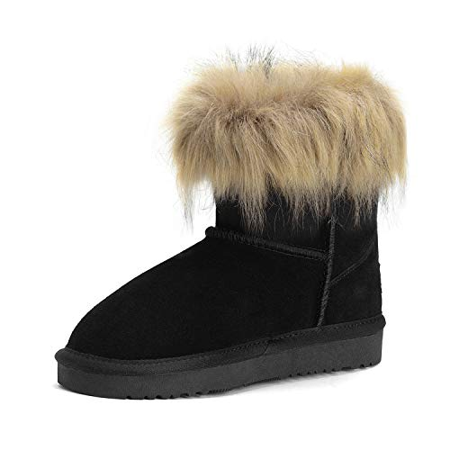 DREAM PAIRS Girls Faux Fur Lined Winter Ankle Snow Boots Black Size 1 Little Kid Fluffy-k