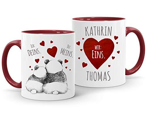 SpecialMe® personalisierte Kaffeetasse Ich Deins, Du Meins, Wir Eins. Panda-Bär anpassbar mit Namen personalisierte Liebesgeschenke inner-bordeaux Keramik-Tasse