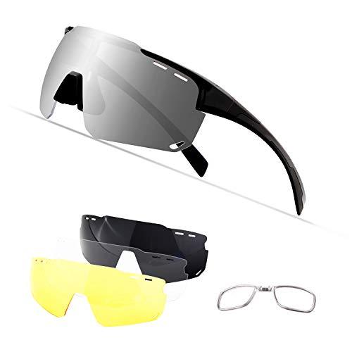 OULIQI Sportbrille Polarisierte Sonnenbrille,Radbrille Sportbrille Herren Damen, 4 Wechselgläser für Outdooraktivitäten wie Radfahren Laufen Klettern Autofahren Angeln Golf (Schwarz)