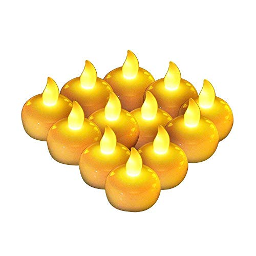 AGPTEK 12 Packed Amber Yellow LED Floating Tea Light Candle Flameless Steady Light for Decoration of Birthday Parties Wedding Thanksgiving Christmas Occasions