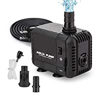 GROWNEER 130GPH Submersible Pump 6W Ultra Quiet Fountain Water Pump, 500L/H, with 2.6ft High Lift, 2 Nozzles for Aquarium, Fish Tank, Pond, Hydroponics, Statuary