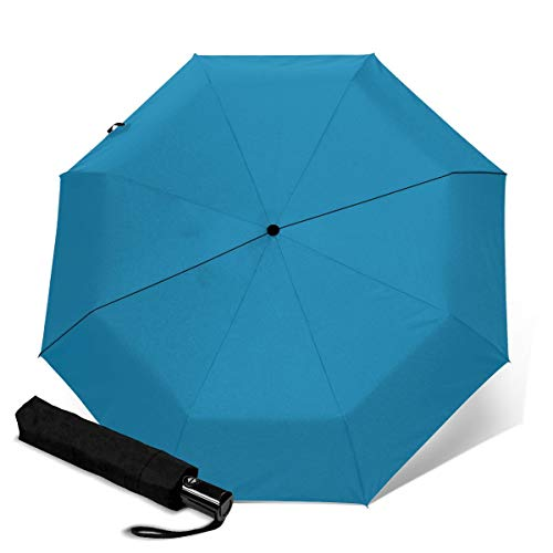 Butterfly Kisses Blue Solid Umbrella Waterproof Windproof UV Protection Automatic Tri-Fold Umbrella Travel Sunshade Folding Rain Umbrella for Men and Women