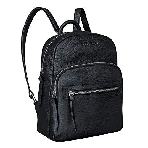 STILORD 'Alba' Kleiner Leder Rucksack Damen Vintage Daypack City Lederrucksack klein Handtasche Echtleder, Farbe:schwarz