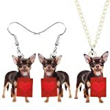 AMINIY Acrílico Día De San Valentín Lindo Chihuahua Dog Jewelry Set Animal Pendientes Pendientes Collar Regalos For Damas Parejas Niños (Color : Multicolor)