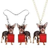 Bath chair Juego de joyas de acrílico para el día de San Valentín con diseño de perro chihuahua, para mascotas, regalo para mujeres, parejas, niños, CHFYG (color: multicolor)