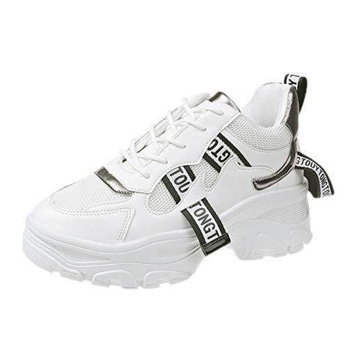 Zapatos Deportivos para Mujer Zapatillas de Plataforma Transpirables de Malla Informal de Colores Mixtos Zapatillas Ligeras para Correr Resistentes al Desgaste para Mujer