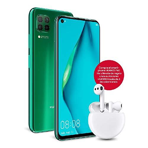"""HUAWEI P40 lite - Smartphone con pantalla de 6.4"""" FullView (Kirin 810, 6GB de RAM, 128GB de ROM, Cuádruple cámara de 48MP,8MP,2MP,2MP), carga rápida de 40W, Batería de 4200 mAh, Auriculares Freebuds 3"""