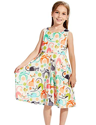 Big Girl's Fox Dress Size 8 9 Cartoon Cat Floral Print White Fancy Cute Sweets Graphic Gala Birthday Modest Fashion Pretty Nice One Piece Dresses Formal Twirly Basic Casual Belle Pageant Frock Outfits