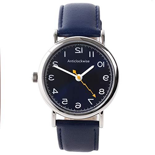 [アンチクロックワイズ]逆回転腕時計 日本製クォーツ ブルー本革バンド (ブルー)