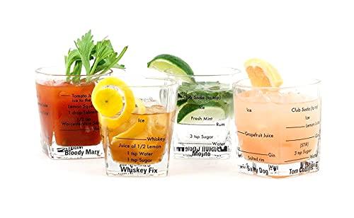 Garden Mile 4 x bicchieri da cocktail & ricettario libro di ricette kit per cocktail party bere alcolici set regalo bicchieri gin vodka whisky rum set regalo 4 x 250 ml