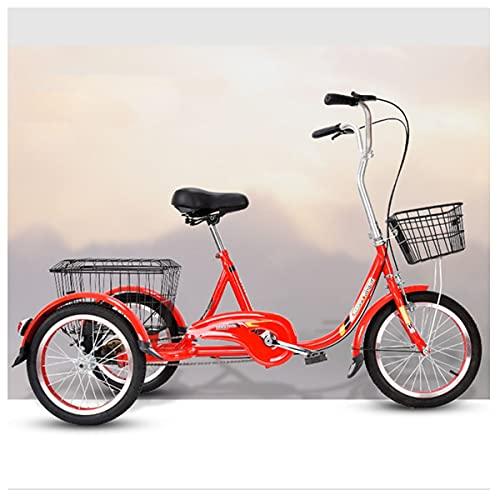 Triciclos Adultos, Triciclo De Tres Ruedas Ciclismo De Ciclismo con Cesta De Compras, para Recreación, Compras, Ejercicio (Color : Red)