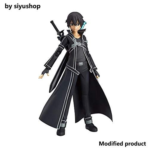 Siyushop Sword Art Online: Kirito Figma Action Figure - Sculpt Accurato Altamente Dettagliato - Dotato di Armi - 14 CM Alti