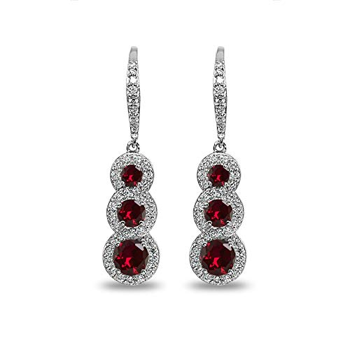 Sterling Silver Synthetic Ruby Journey Halo Three-Stone Dangle Leverback Earrings