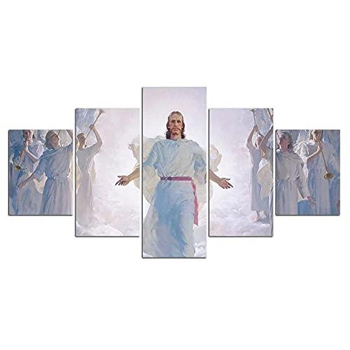 wangdazhuang 5 piezas de arte de pared de Jesús pintura sobre lienzo estirado y enmarcado listo para colgar para decoración del hogar, decoración de pared, 150 x 80 cm