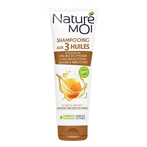Naturé Moi - Shampooing nourrissant à l'extrait de miel bio et aux huiles d'olive, d'onagre et d'abricot bio - Répare les cheveux frisés ou secs - 250ml