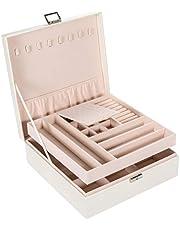 Allinside ジュエリーボックス 二層PUレザー 大容量ジュエリー小物収納ケース 取り外しトレイ付き宝石箱 ネックレス イヤリング ピアス ブレスレット 鍵付き 仕切り調整 女性