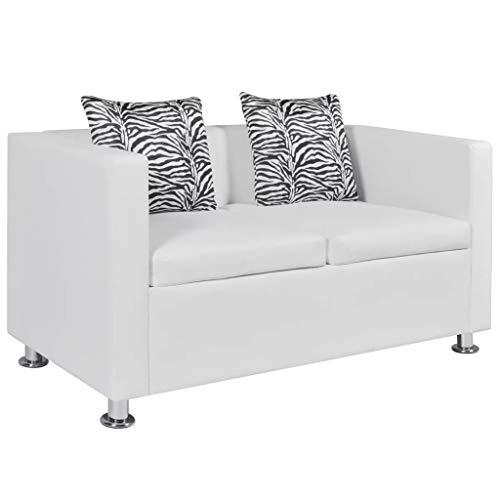 vidaXL 2-Sitzer Sofa Couch Loungesofa Relaxsofa Relaxcouch Kunstleder Weiß