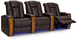 Seatcraft Monaco Leather Power Recline Home Theater Seating Chairs   Powered by SoundShaker (Row of 3, Black)