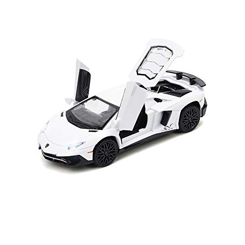 White Lamborghini Aventador Toy Pull Back Vehicles Diecast Car Model with Light & Sound