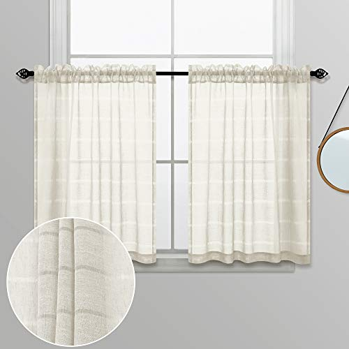 Kitchen Farmhouse Curtains 36 Inch Length for Small Window Treatments Set Semi Sheer Linen Cafe Tier Rustic Boho Short Ticking Striped RV Curtains for Camper Windows 30 x 36 Long Natural Cream Beige