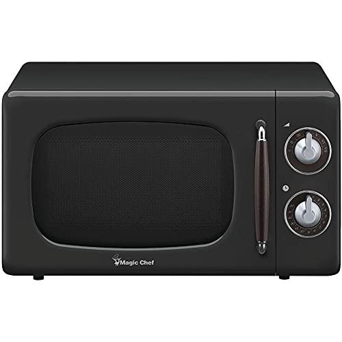 Magic Chef MCD770CB 0.7 cu ft. Retro Countertop Microwave Oven 700 Watt44; Rotary Dial44; Timer & 7 Power Levels - Black