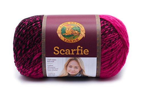 Lion Brand Yarn Scarfie - Strickgarn für Schals One Size schwarz/pink