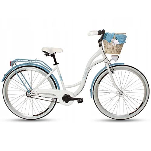 Goetze Blueberry - Bicicleta de ciudad para mujer, estilo vintage, retro, 3 velocidades, Shimano Nexus, freno de contrapedal, ruedas de aluminio de 28 pulgadas, cesta con acolchado