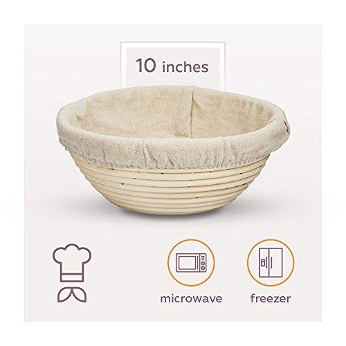 Avalon Kitchen Premium Sourdough Bread Banneton Proofing Basket | 10 Inch Round Brotform | Artisan Bread Maker | Removable Cloth Linen Liner Natural Cane Rattan Dough