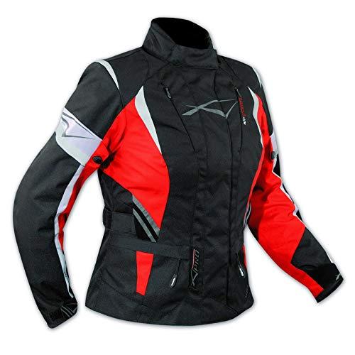 A-Pro Lady Giacca Moto Donna Impermeabile Termica Sfoderabile Protezioni CE Rosso M