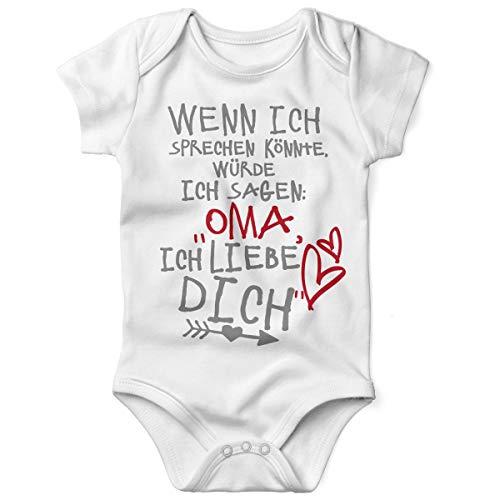 Mikalino Babybody mit Spruch für Jungen Mädchen Unisex Kurzarm Wenn ich sprechen könnte würde ich Sagen: Oma ich Liebe Dich | handbedruckt | Handmade with Love, Farbe:Weiss, Grösse:56