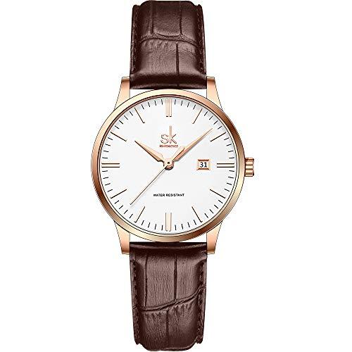 SK Orologi da donna Classic Business con cinturino in acciaio inossidabile ed elegante orologio da donna con calendario in vera pelle (Rosegold-Leather)