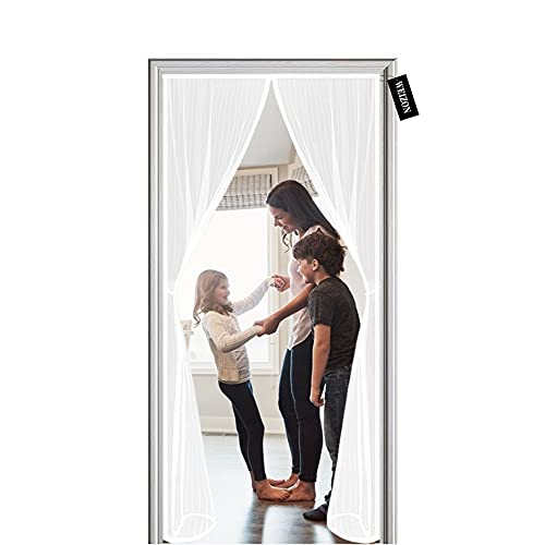 Cortina Mosquitera Para Puertas 140 x 270 cm ,magnetica puerta exterior sin tornillos,Mosquitera puerta corredera lateral con iman para terraza/habitacion, - Blanco