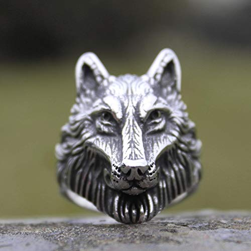 yqs Anillo abierto de acero inoxidable, diseño de lobo salvaje, para hombre, joyería de animales