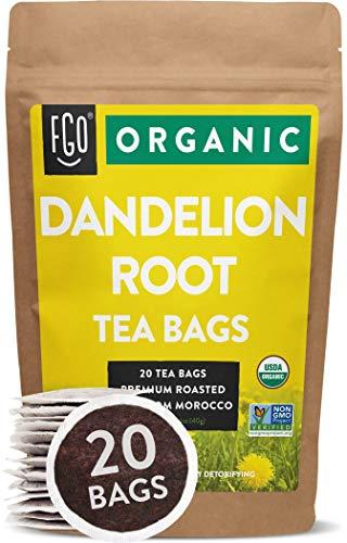 Organic Roasted Dandelion Root Tea Bags | 20 Tea Bags | Eco-Conscious Tea Bags in Kraft Bag | Raw from Morocco | by FGO