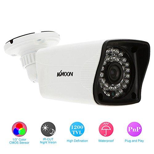 KKmoon 1200TVL Cámara de Vigilancia 1/3 CMOS IR-CUT CCTV Impermeable Sistema de Seguridad PAL