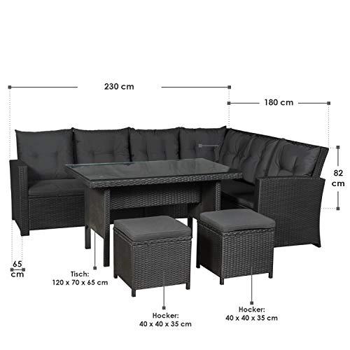 ArtLife Polyrattan Sitzgruppe Lounge Santa Catalina schwarz | dunkelgraue Bezüge | Gartenmöbel-Set mit Ecksofa, Hocker & Tisch - 3